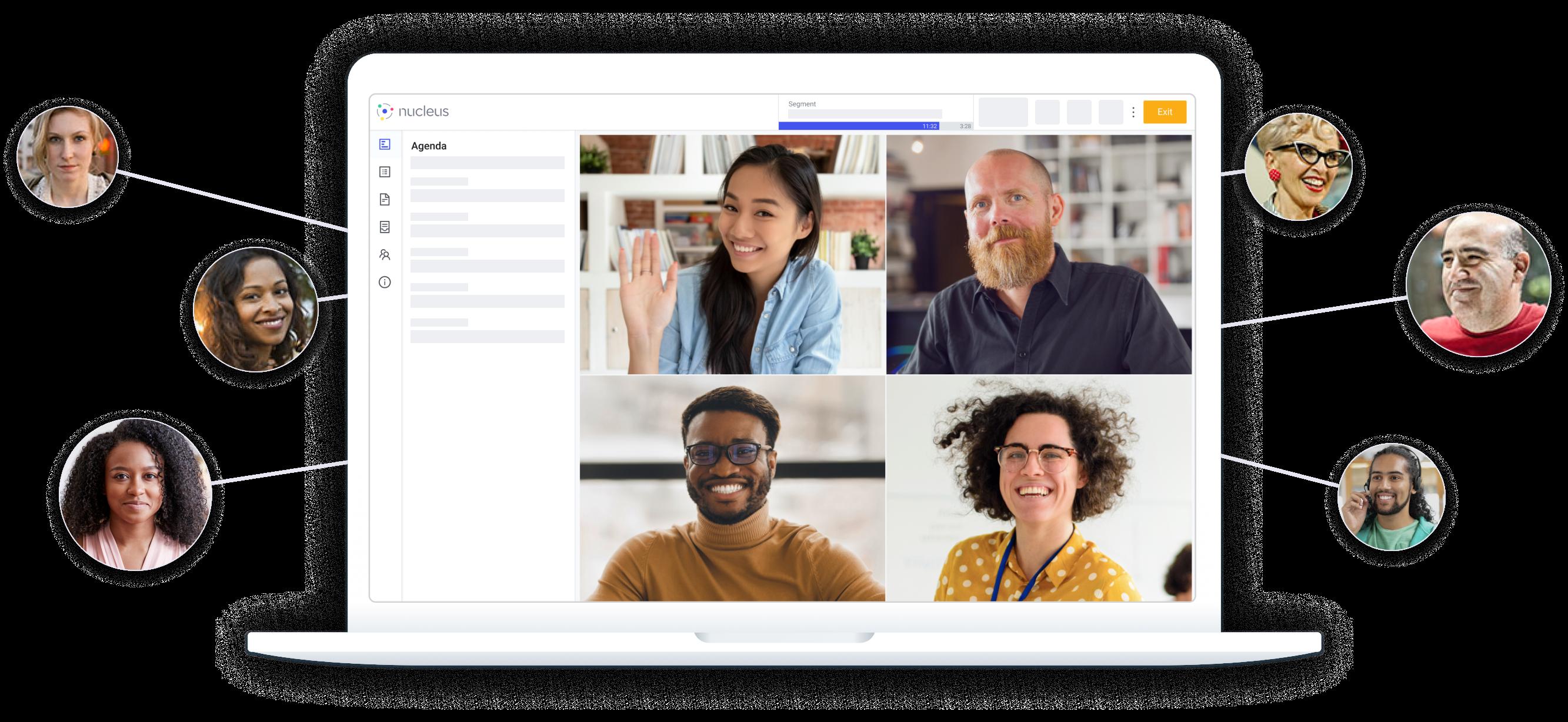 nucleus virtual meeting displayed on laptop